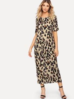 Leopard Print Longline Dress