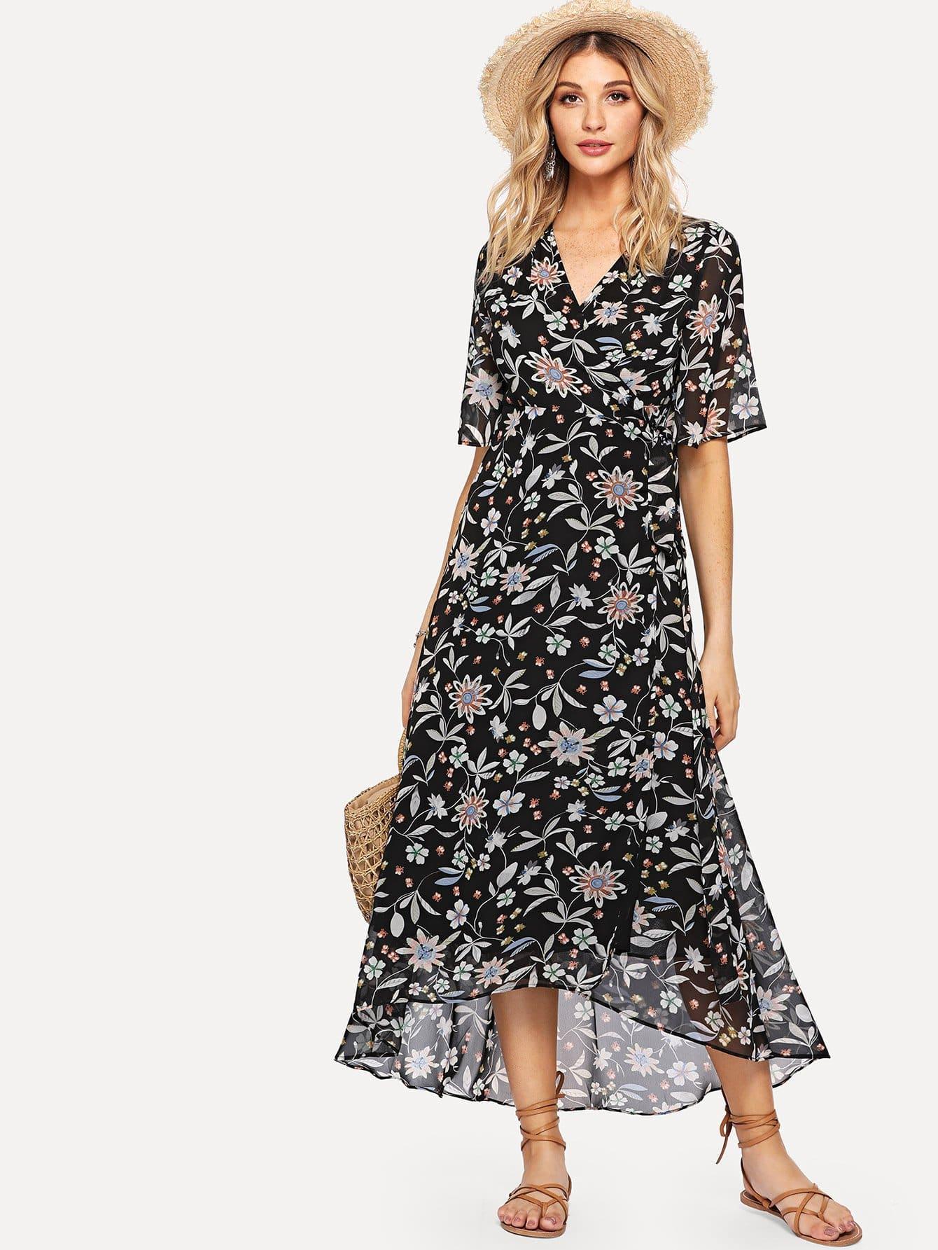 Купить Ботаническая печать Flowy Dress, Nathane, SheIn