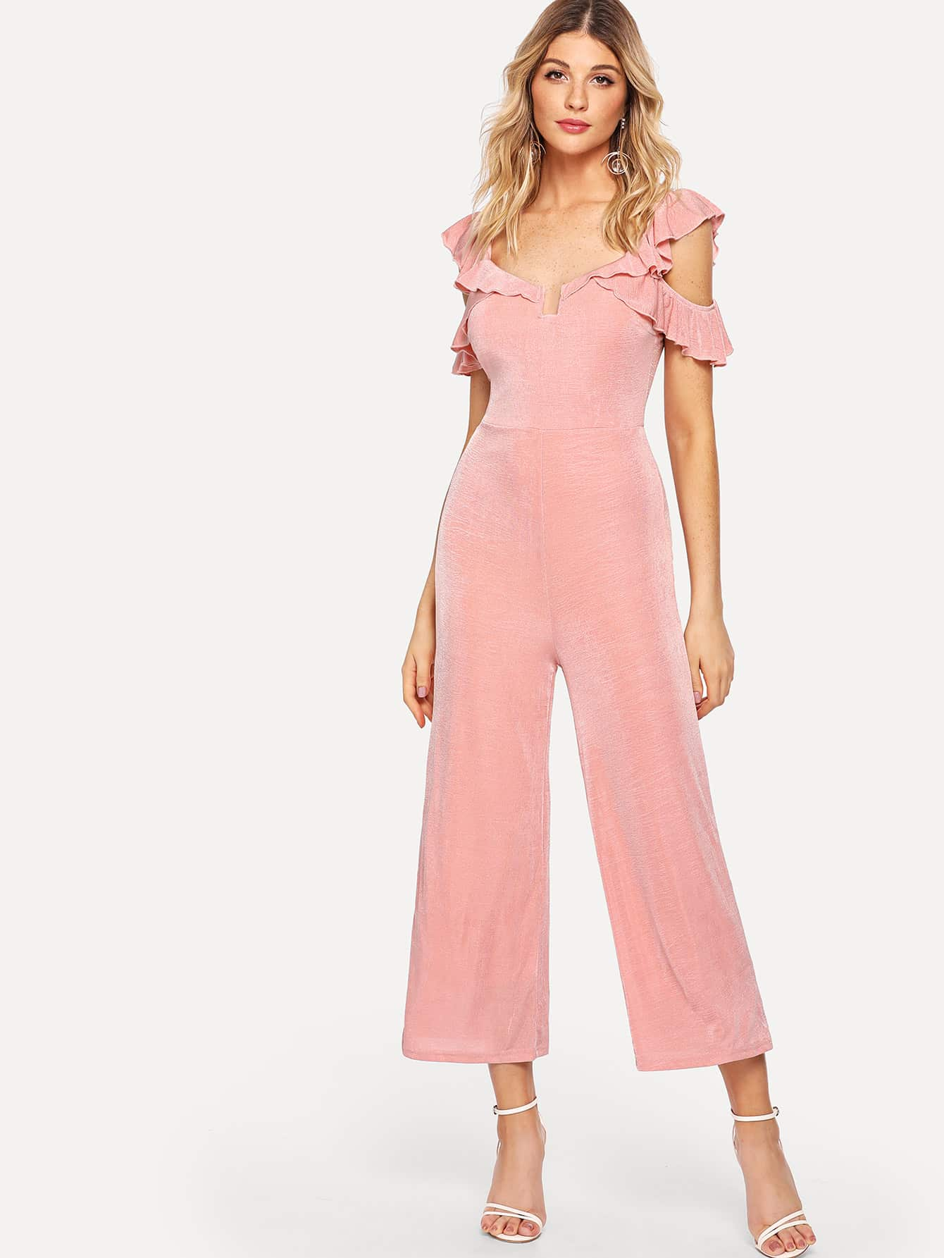 V-Neck Solid Ruffle Trim Jumpsuit choker neck embroidered ruffle trim jumpsuit