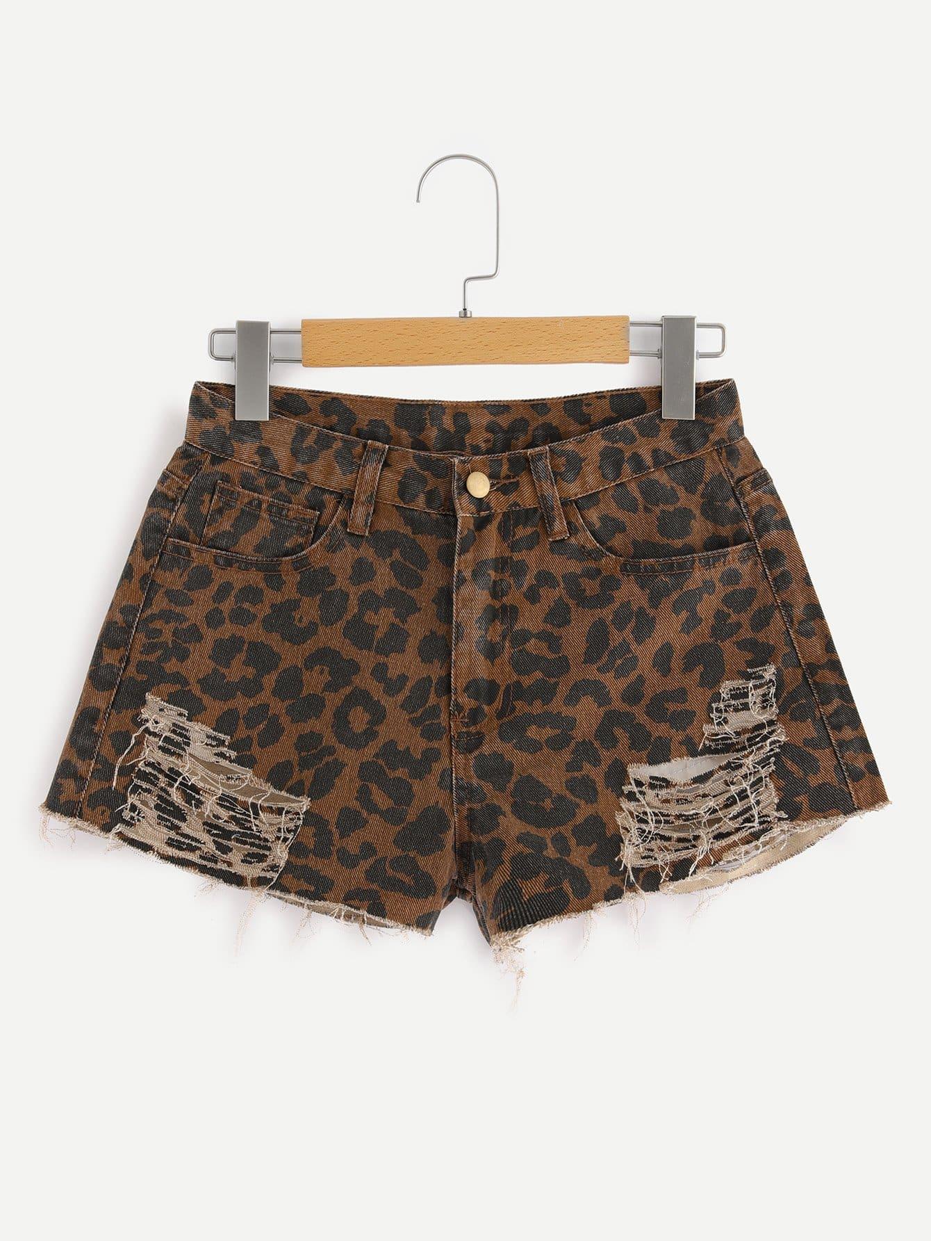 Купить Ripped Rame Hem Leopard Denim Shorts, null, SheIn