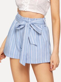 Self Belted Striped Shorts