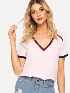 Contrast Tape V Neck Top