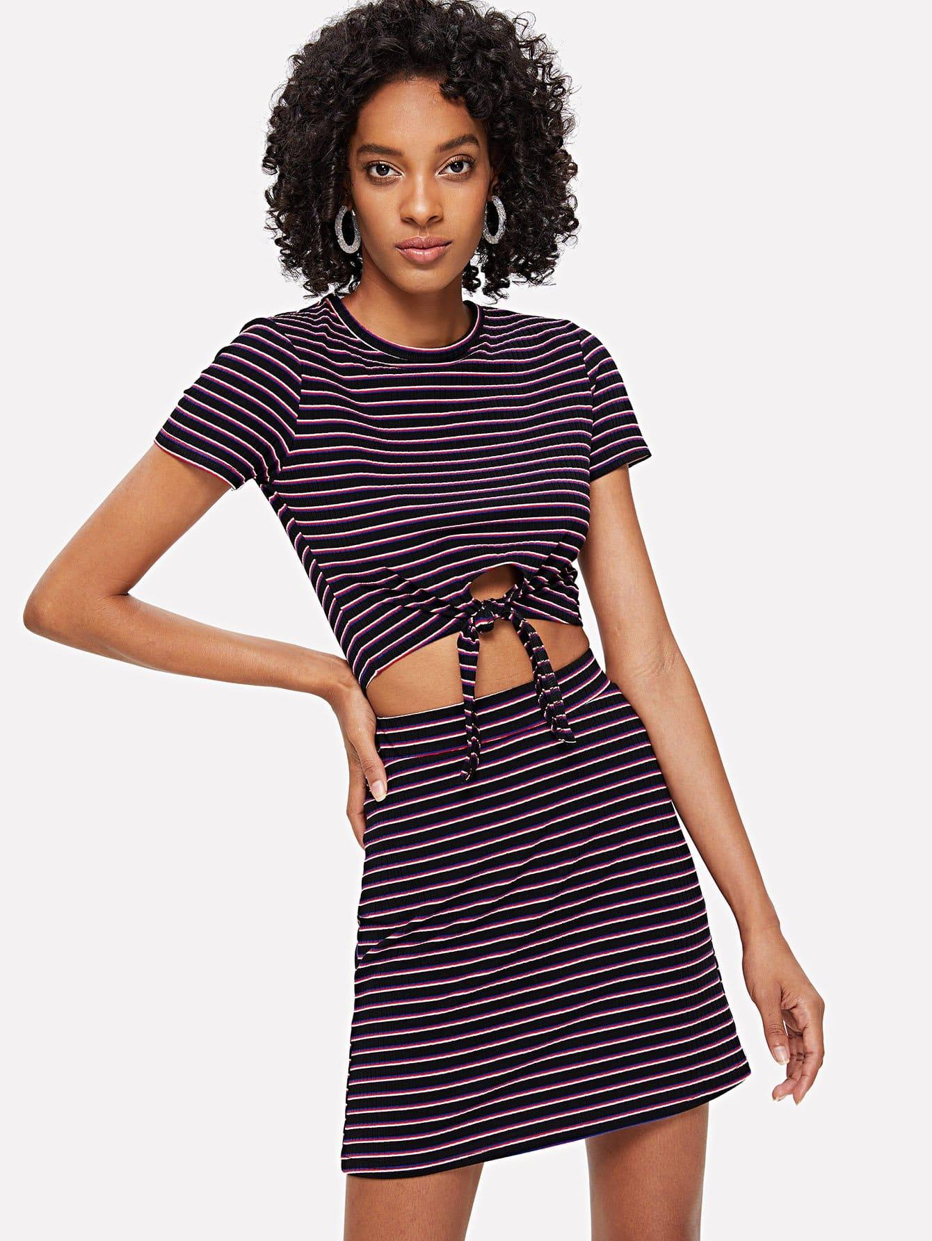 Knot Hem Rib Knit Striped Top and Skirt Set striped rib knit top