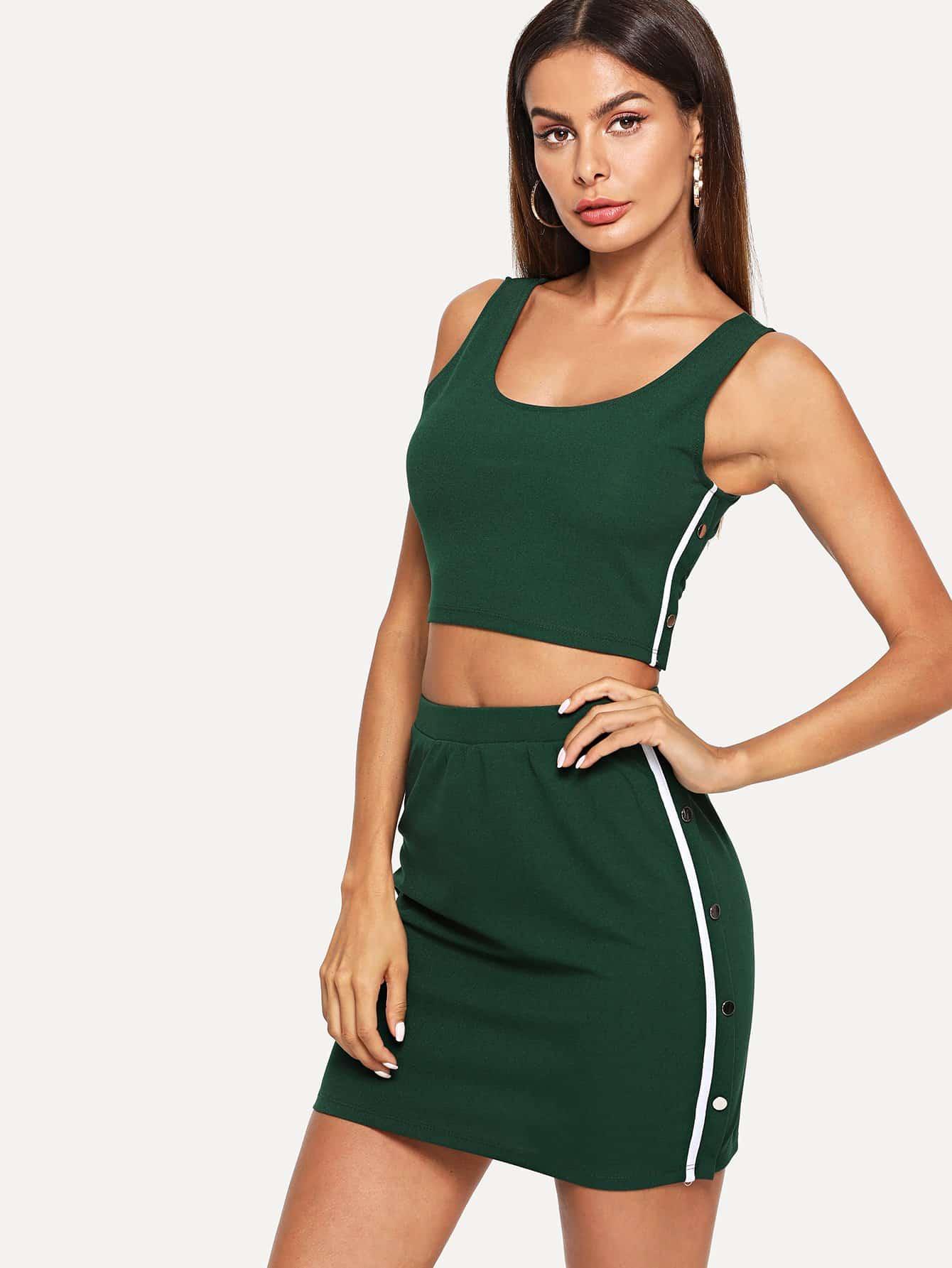 Strip Side Crop Shell Top & Skirt Set black choker sleeveless crop top