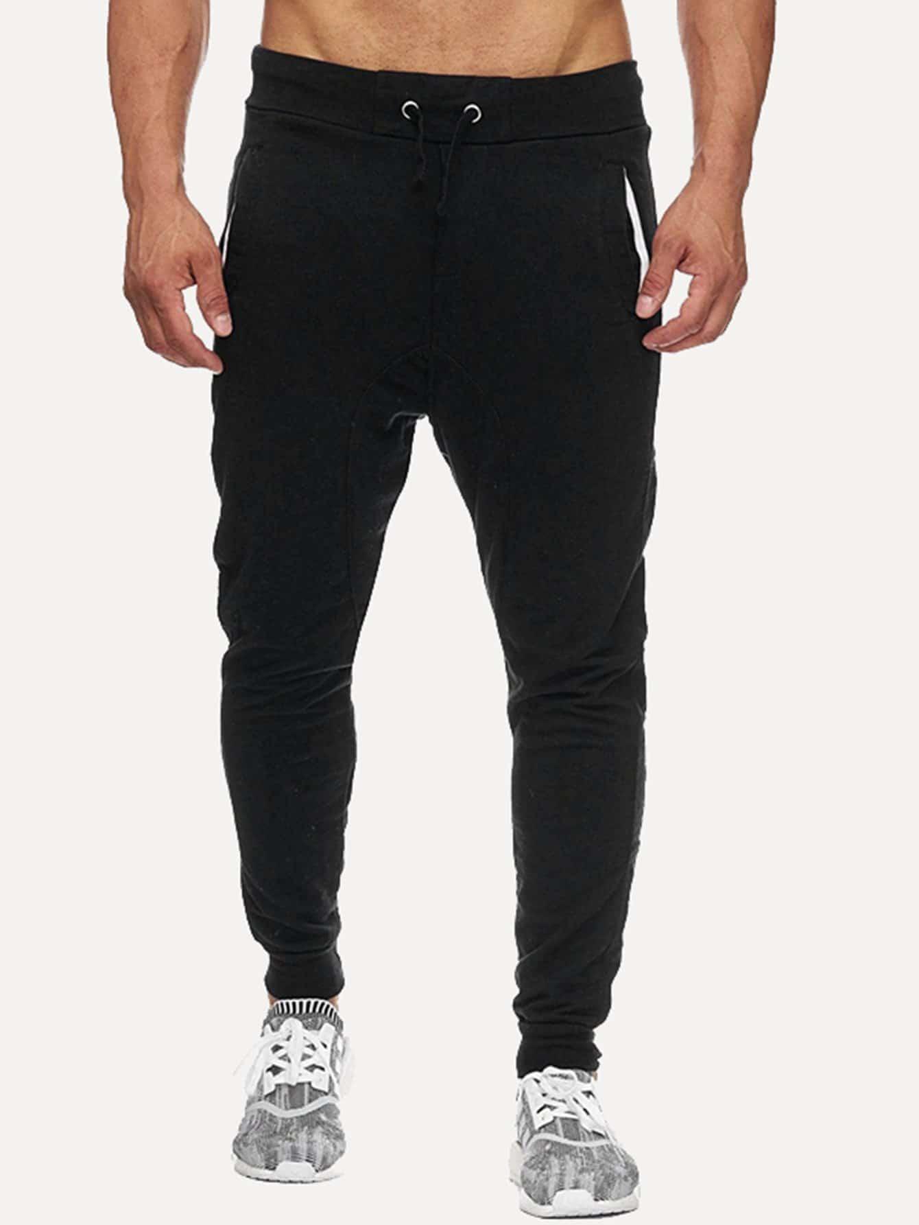 Men Drawstring Plain Sporty Pants