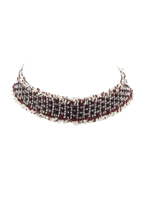 a19ae78a5889 Collares de gargantilla ancha de rayas de lana de venta superior negro  -Spanish ROMWE