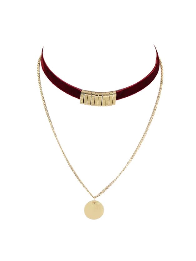 Winered Double Layers Velvet Choker Necklace