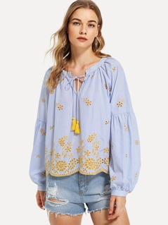 Lantern Sleeve Embroidery Striped Top