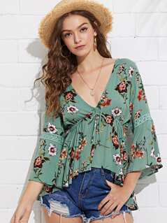 Flounce Sleeve Lace Insert Floral Blouse