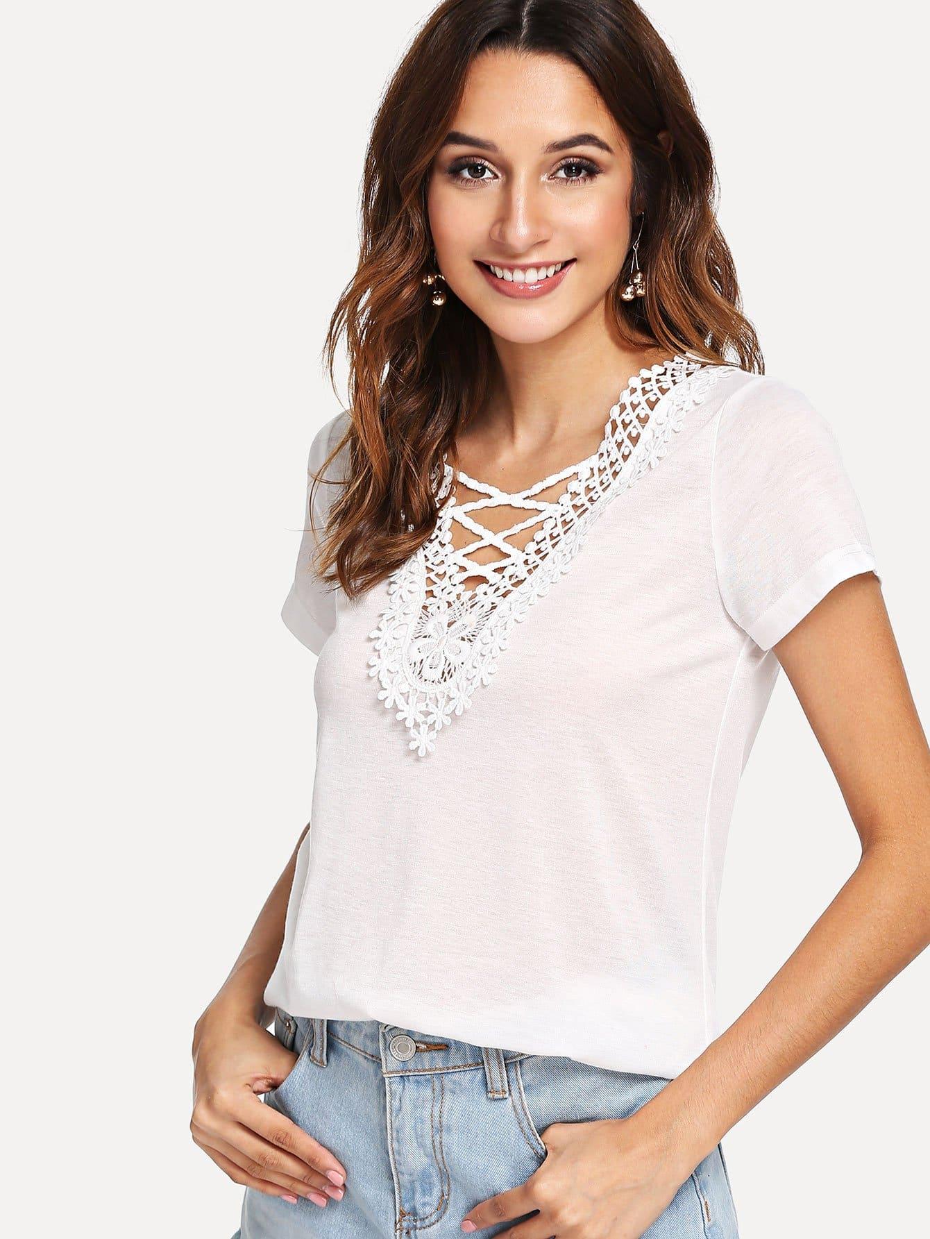 Купить Кружевная кружевная кружевная аппликационная блузка, Gabi B, SheIn