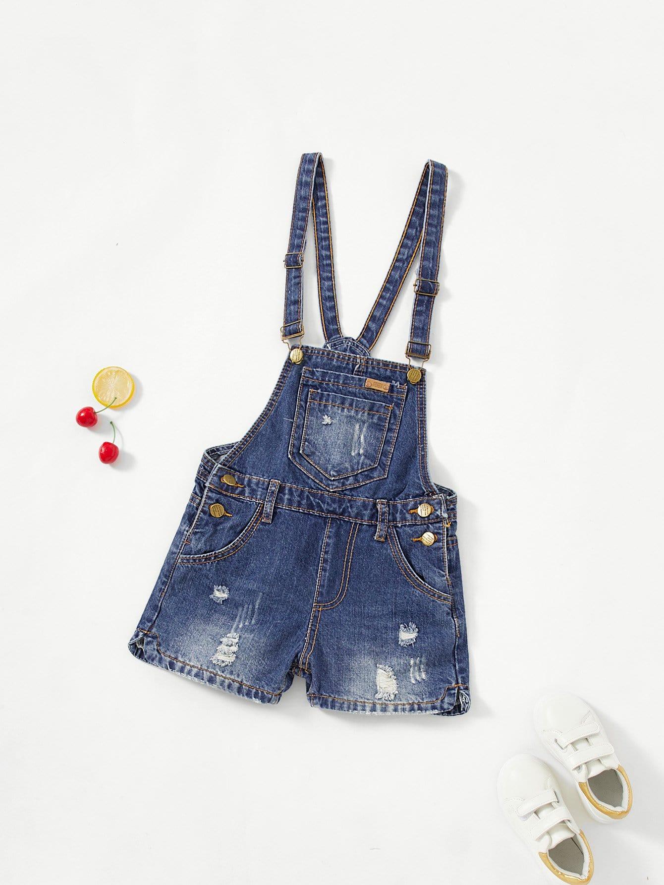 все цены на Girls Bleach Wash Ripped Denim Overall Shorts
