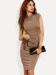 Marled Knit Fitted Dress