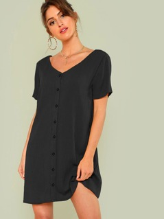 Double V-Neckline Shirt Dress