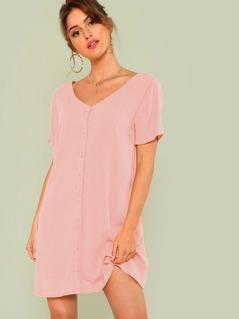 Double V-Neckline Shirt Dress