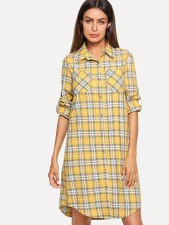Button & Pocket Front Collar Neck Plaid Dress