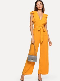 Ruffle Detail Belted Pleated Wide Leg Jumpsuit