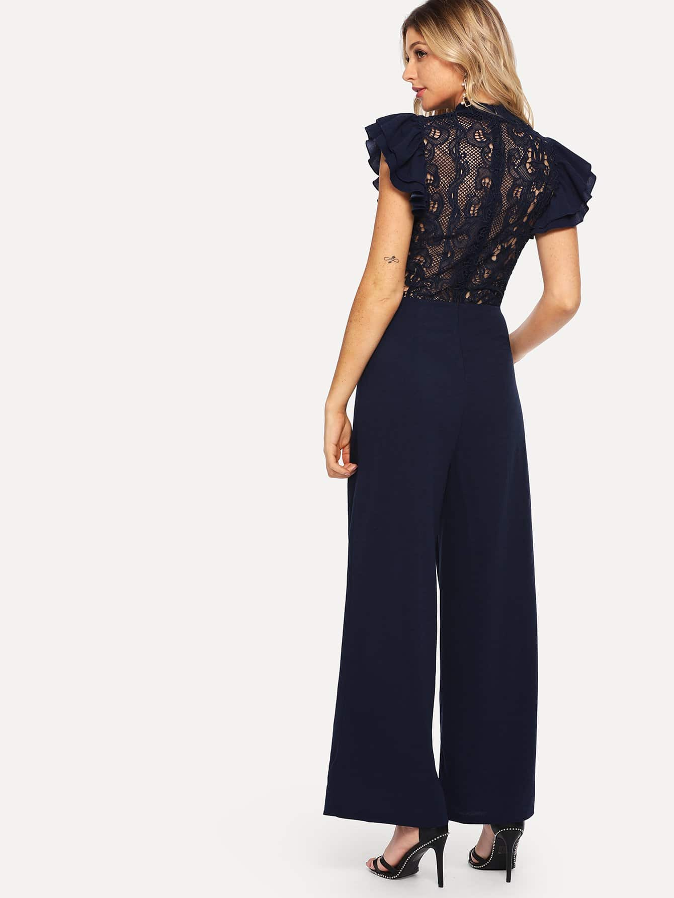 Embroidered Ruffle Mock Neck Belted Jumpsuit choker neck embroidered ruffle trim jumpsuit