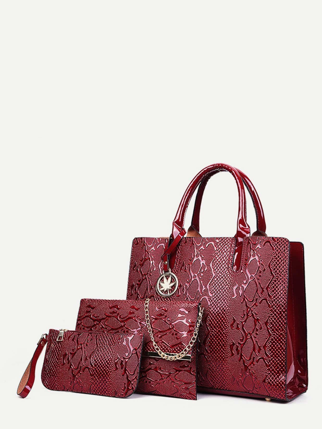 Купить Комбинированная сумка с рисунками змеиной кожи 3 шт, null, SheIn