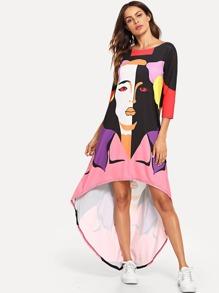 Figure Print Asymmetric Hem Dress