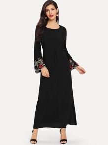 Lace Contrast Bell Sleeve Dress