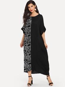 Contrast Cut And Sew Longline Dress
