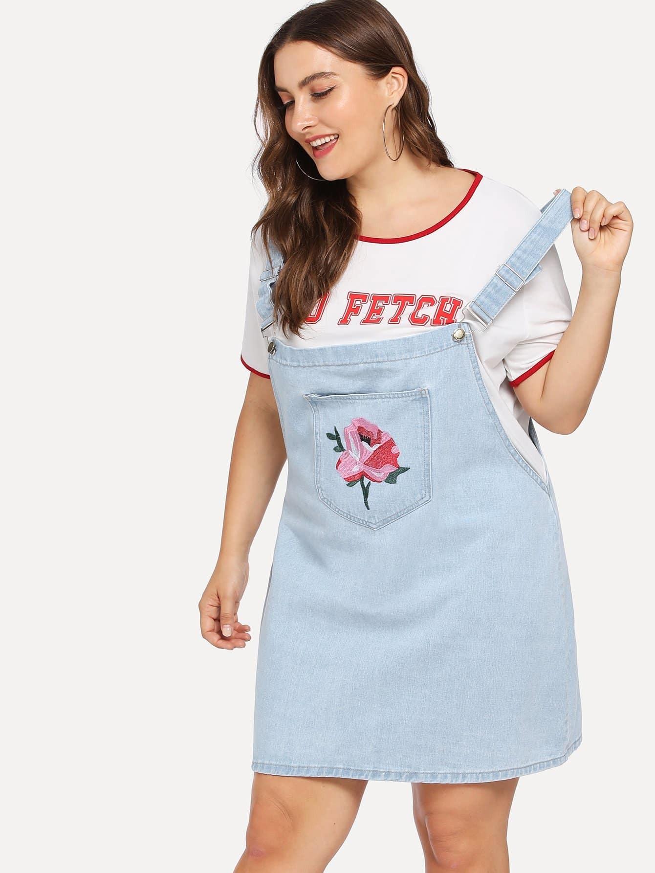 Купить Джинсовое платье с украшением пуговиц и цветов вышивки, Franziska, SheIn