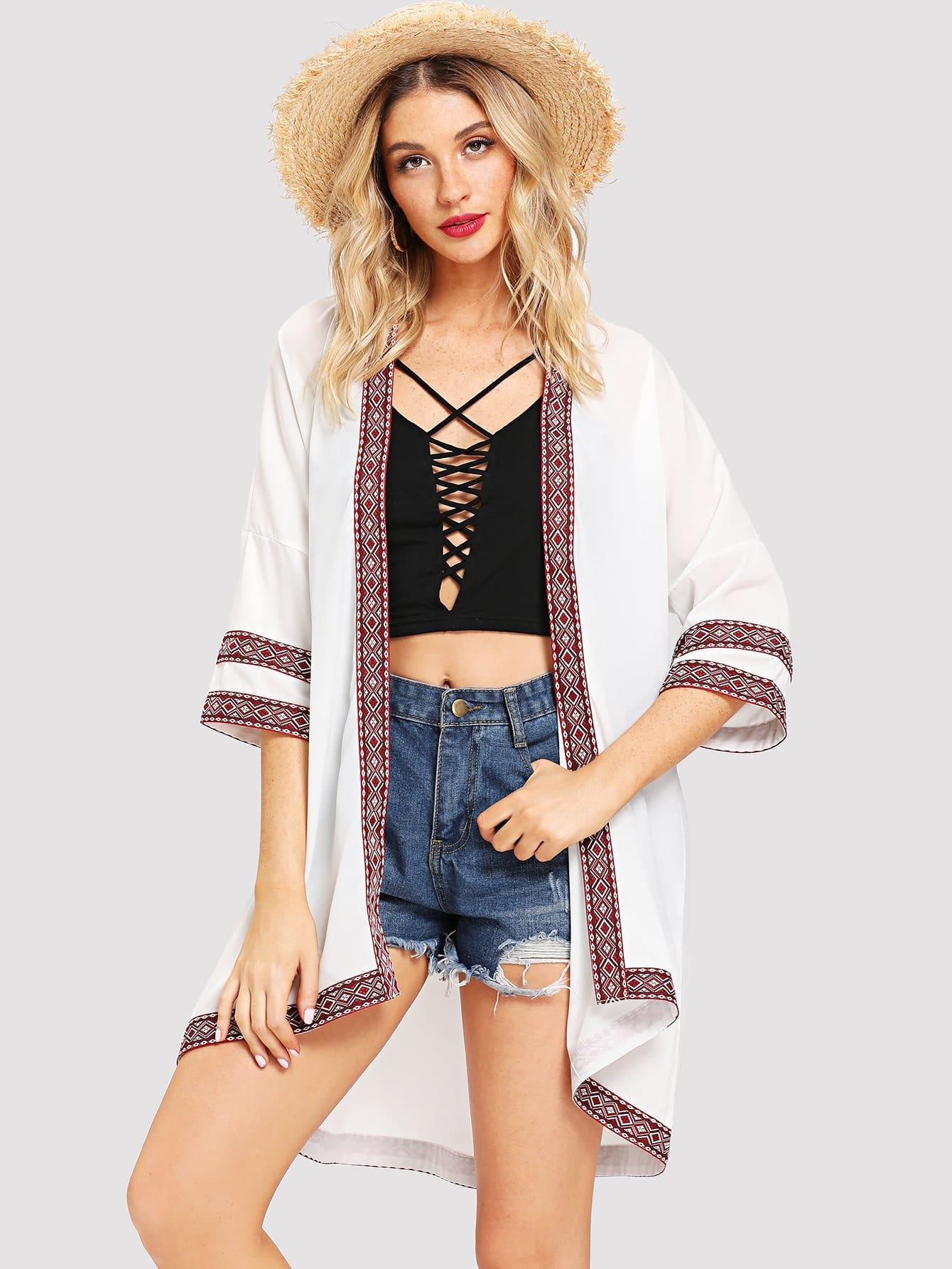 Купить Повседневный кимоно Белые Кимоно, Nathane, SheIn