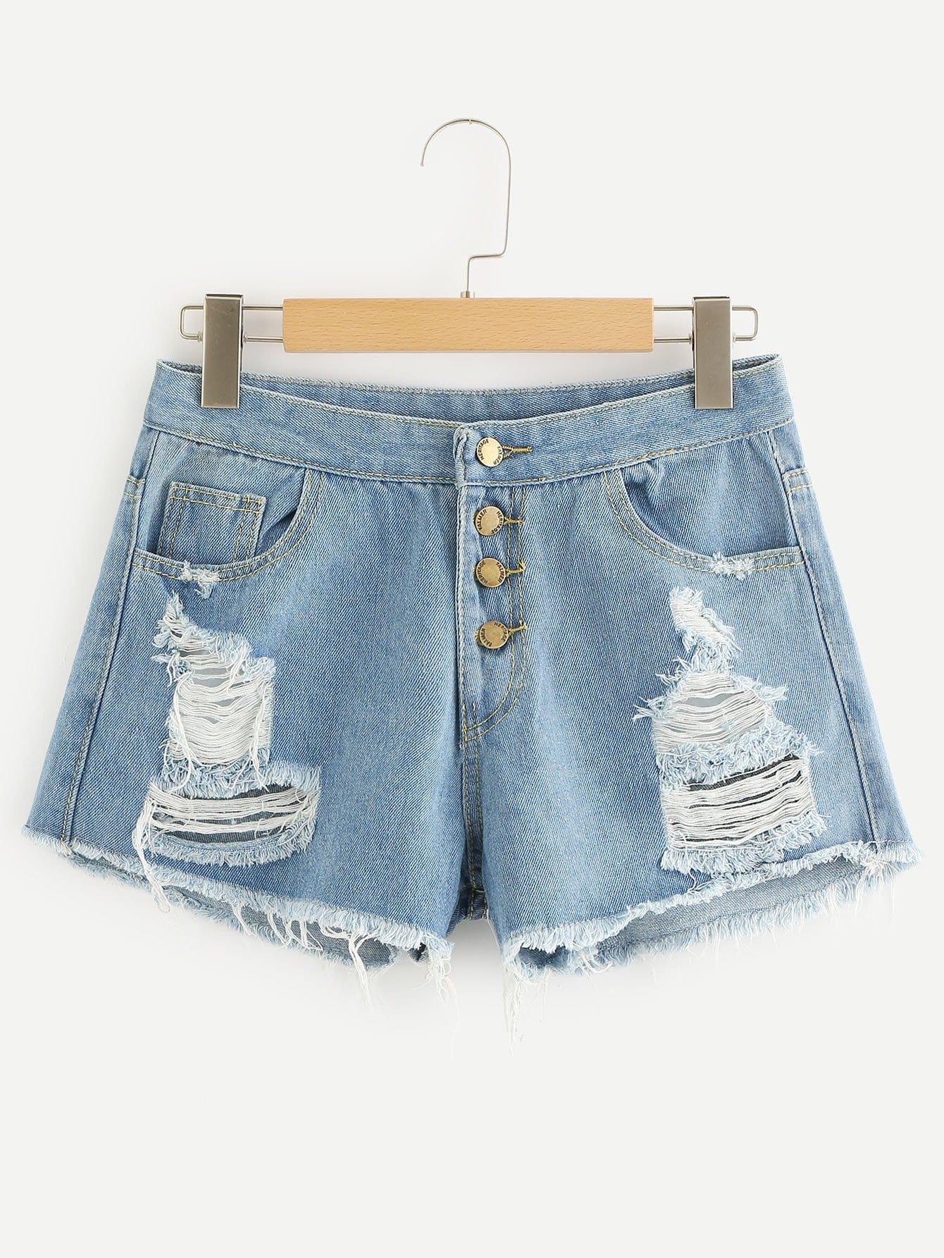 Ripped Raw Hem Button Front Denim Shorts