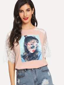 Lace Contrast Pearl Beaded Girl Print Tee