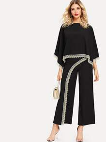 Bat Sleeve Lace Contrast Top With Wide Leg Pants