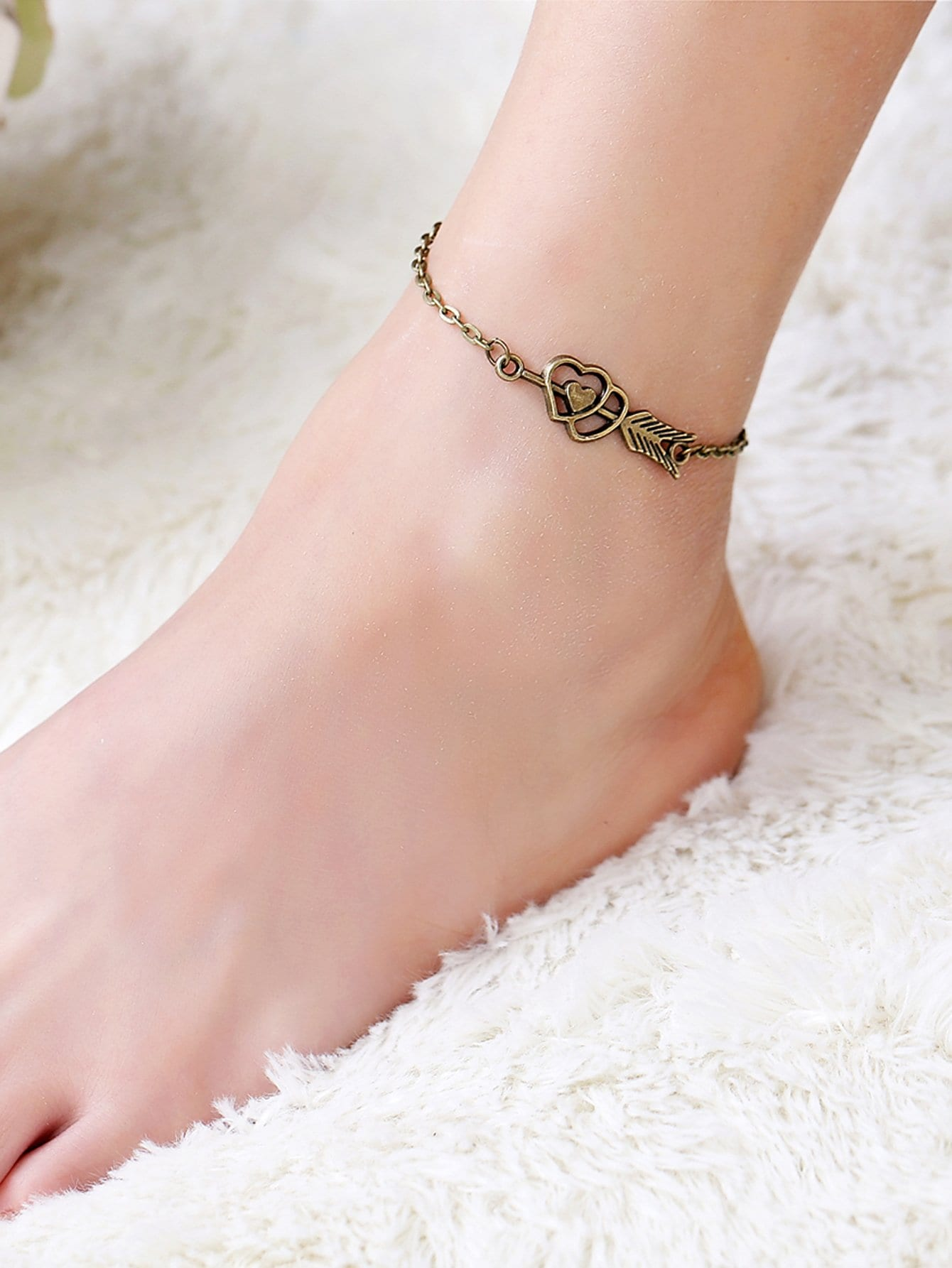Arrow & Heart Detail Chain Anklet