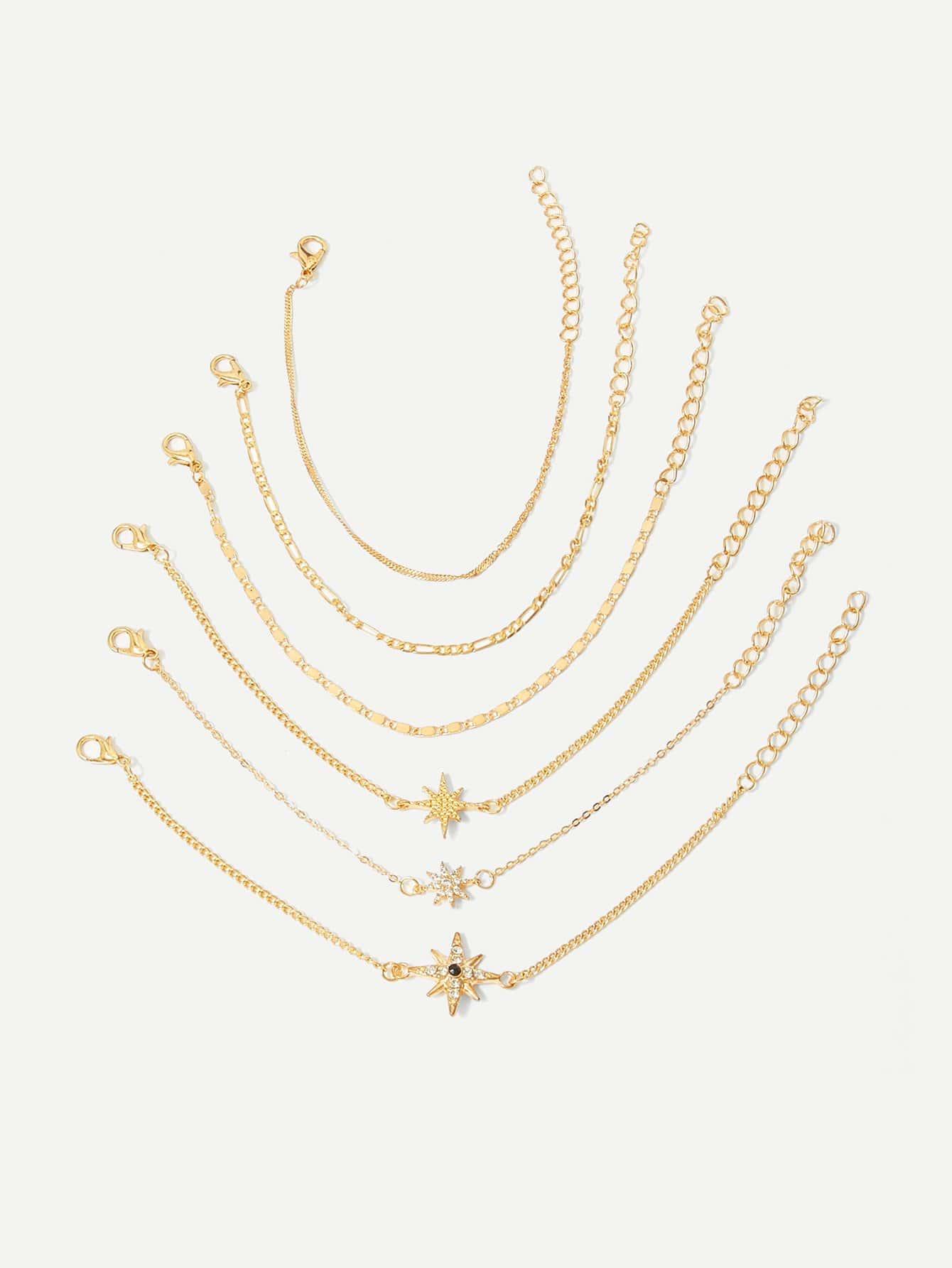 Star Detail Chain Bracelet Set 6pcs термос 0 5 л diolex с узким горлом dx 500 1