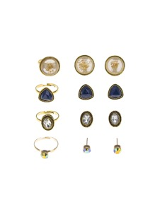 Stud Earrings 4pairs & Ring Set 4pcs