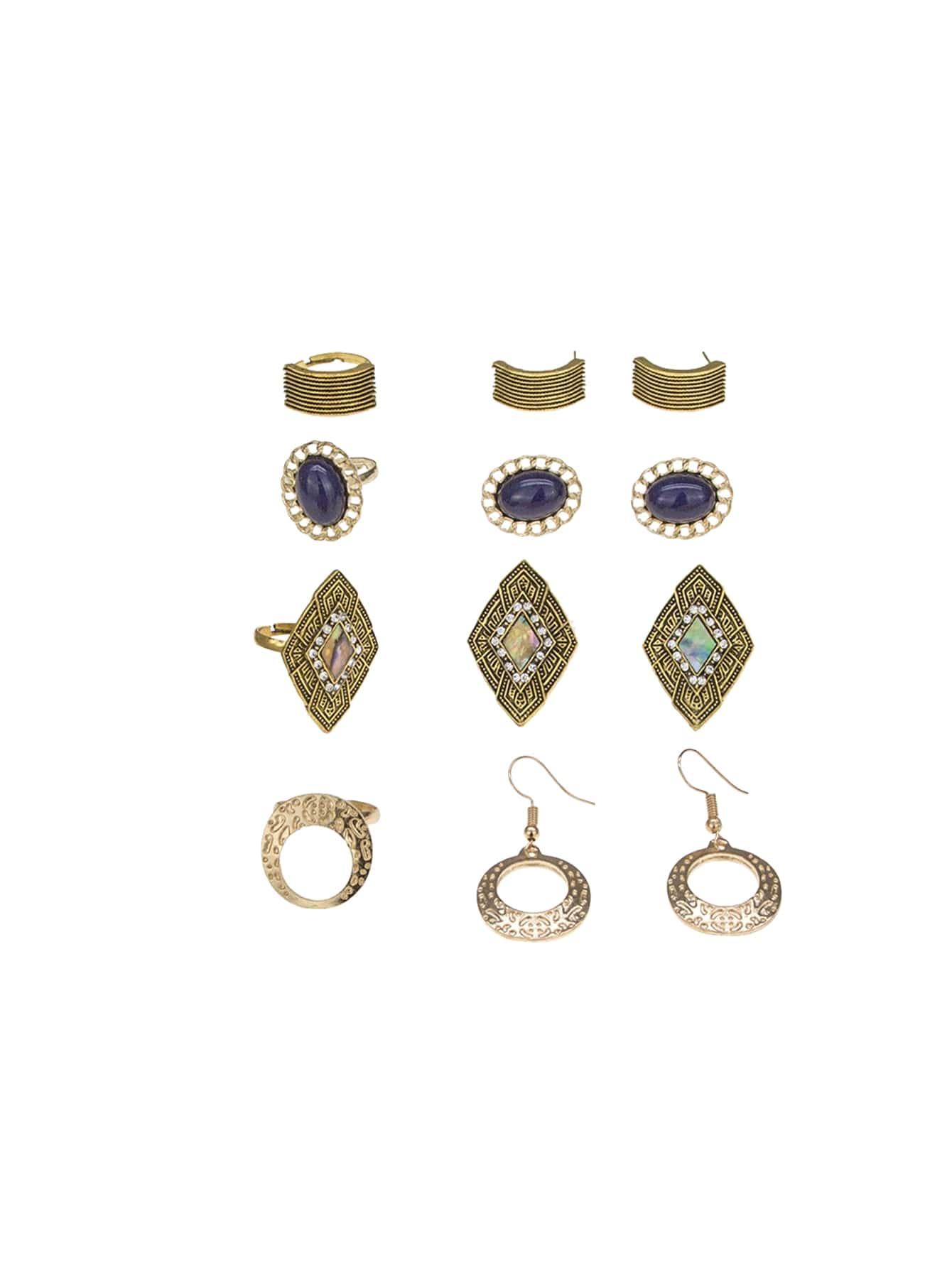 Strukturierte Ohrringe 4 Paare & Ring Set 4pcs