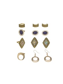 Textured Earrings 4pairs & Ring Set 4pcs
