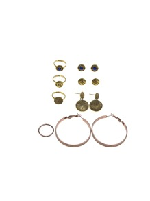 Oversize Hoop Earrings 4pairs & Ring 4pcs