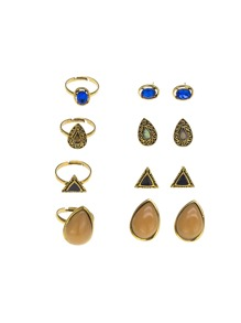 Gemstone Earrings 4pairs & Ring Set 4pcs