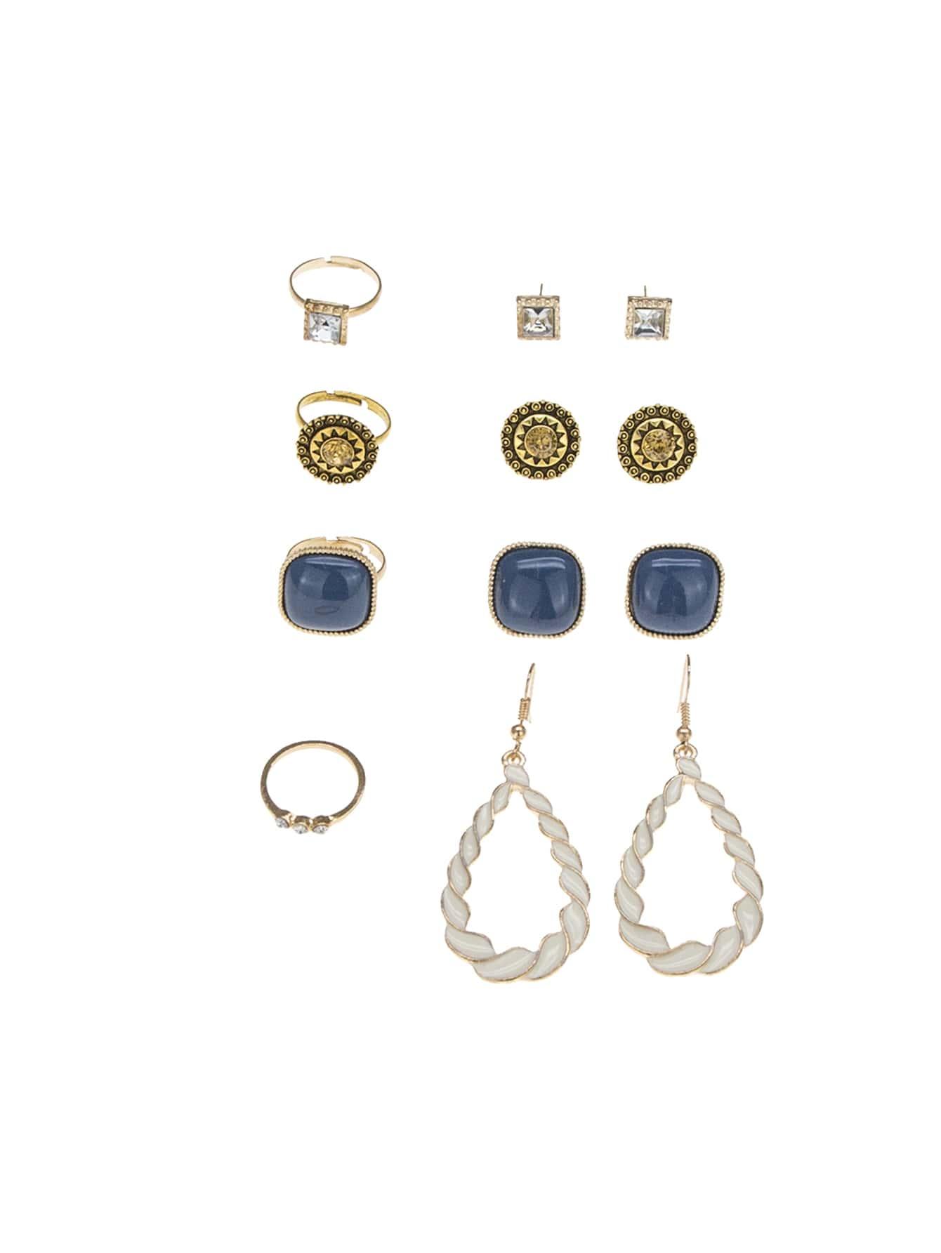Rhinestone Detail Earrings 4pairs & Ring Set 4pcs