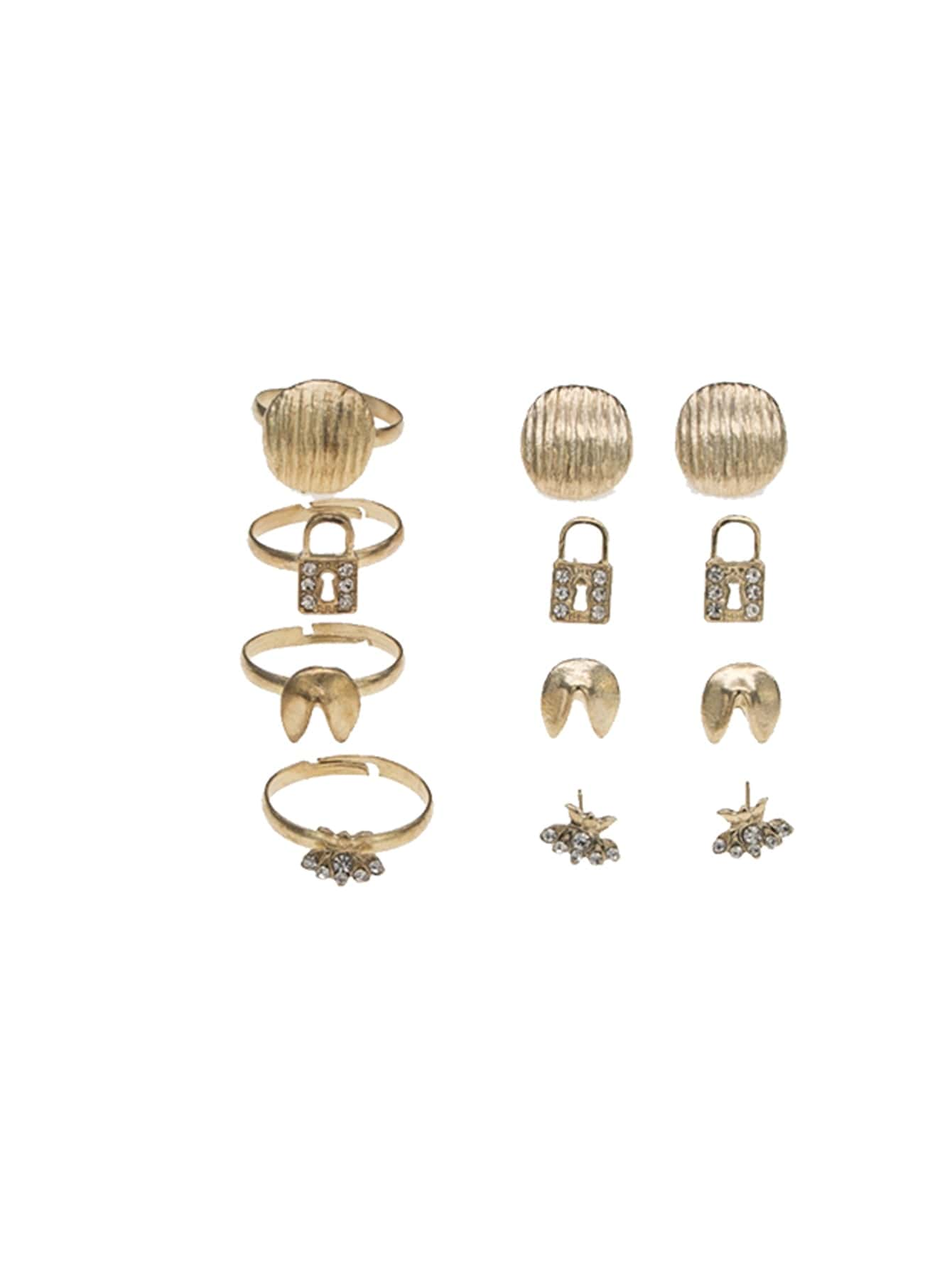 Schloss Detail Ohrringe 4 Paare & Ring Set 4pcs