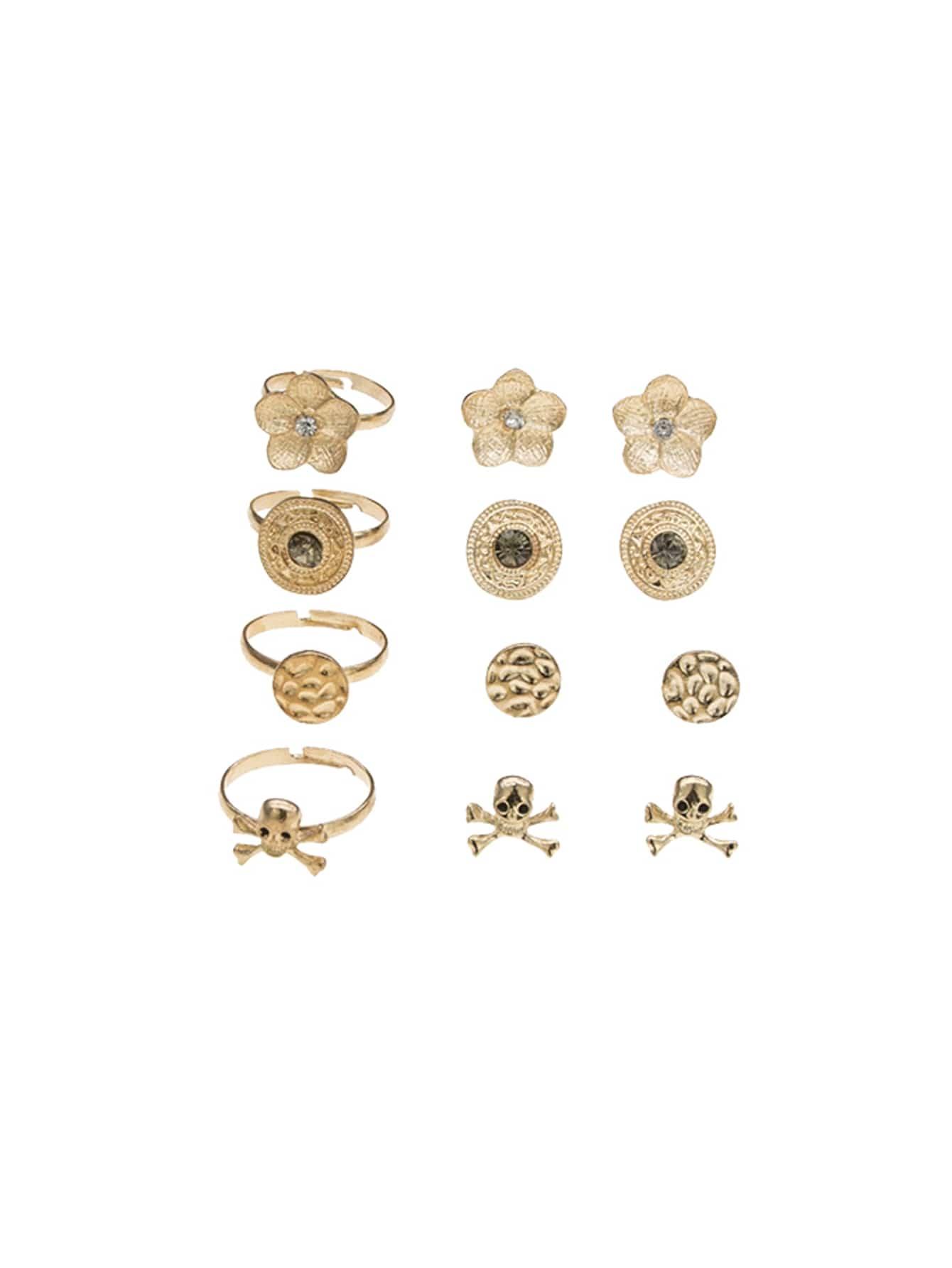 Skeleton Design Earrings 4pairs & Ring Set 4pcs