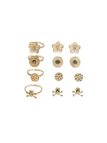 Skeleton Design Earrings 4pairs & Ring Set 4pcs