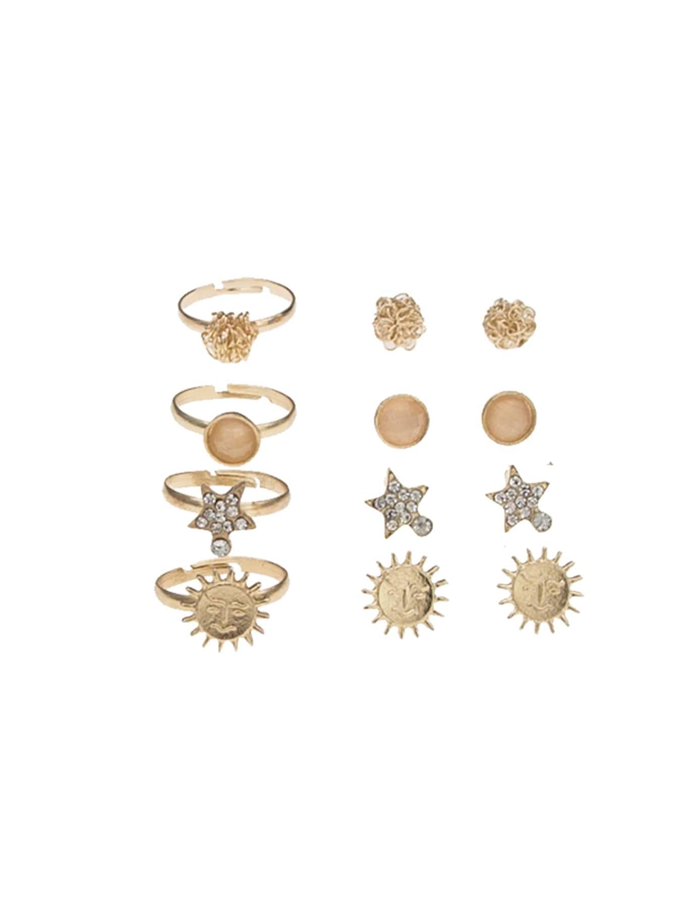 Sun Detail Earrings 4pairs & Ring Set 4pcs