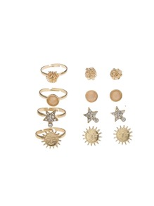 Sun Detail Earrings 4pairs & Ring Set 4pcs