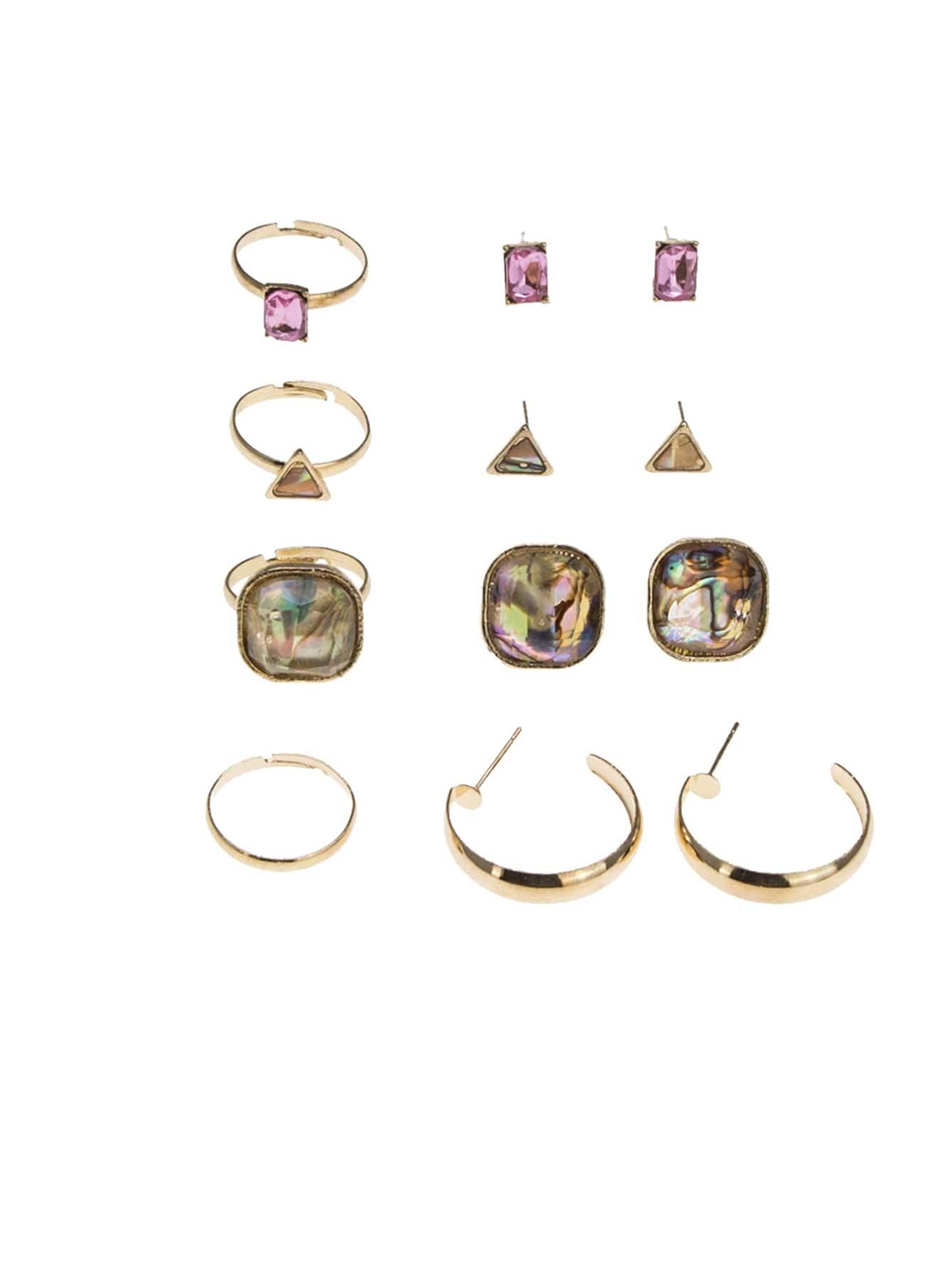 Geometric Earrings 4pairs & Ring Set 4pcs