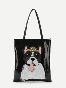 Dog Pattern PU Shoulder Bag