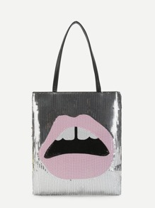 Lips Pattern PU Shoulder Bag