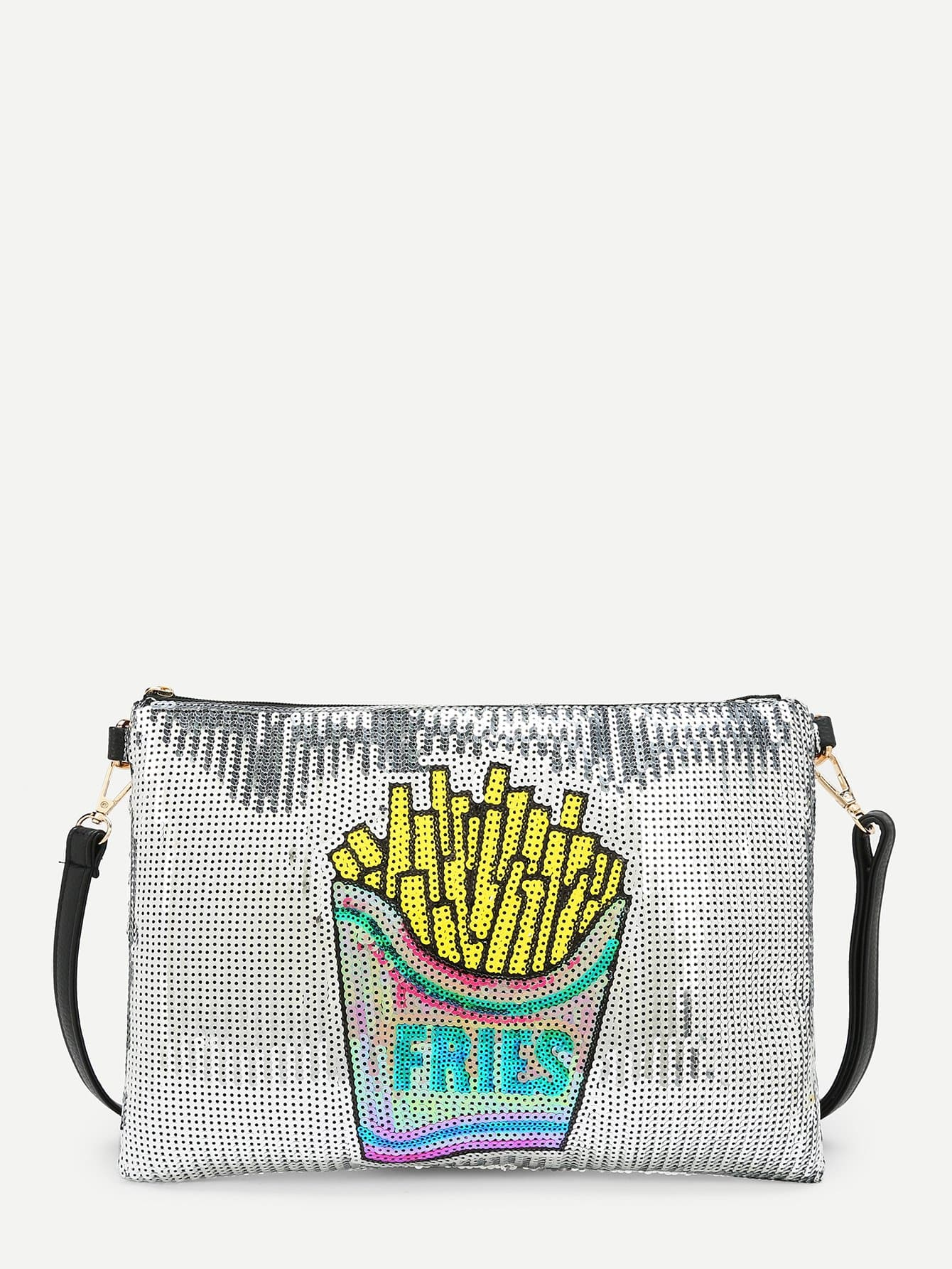 French Fries Pattern PU Clutch Bag transparent envelope clutch bag