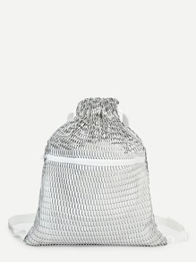 Zipper Front Drawstring Backpack