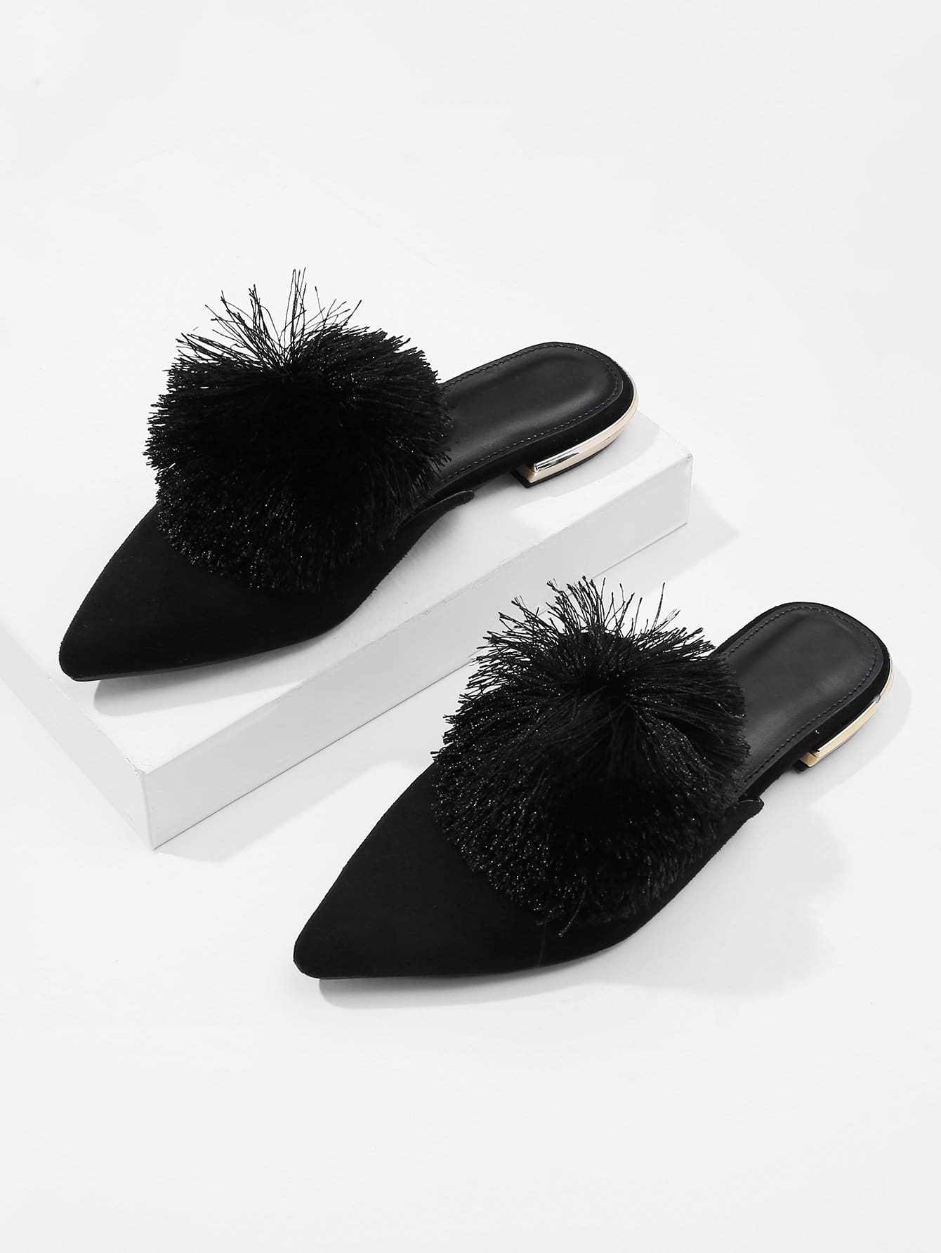 Pom Decorated Pointed Toe Flats
