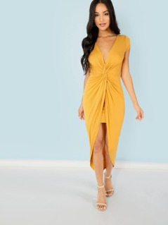 Twist Front Deep V Dress